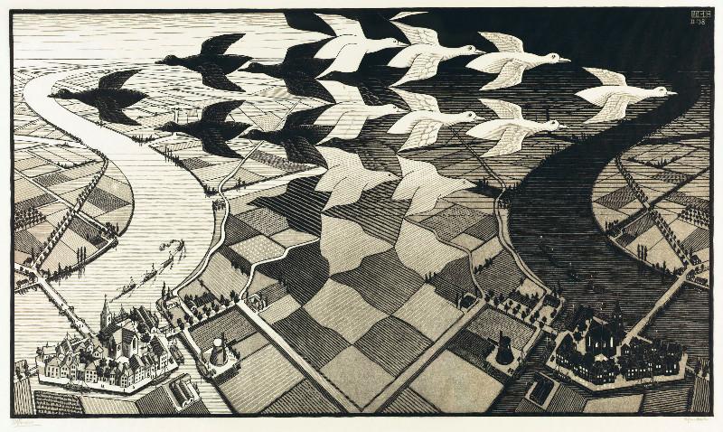 """Eine der wunderbaren Grafiken, die im Museum """"Escher in het Paleis"""" zu sehen sind"""