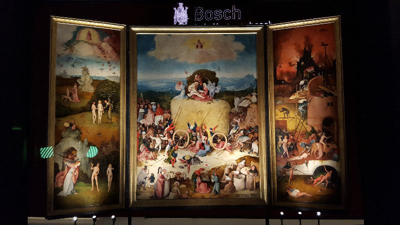 """Das berühmte Tryptichon """"Der Heuwagen"""" (1510-1516), Madrid, Museo Nacional del Prado"""